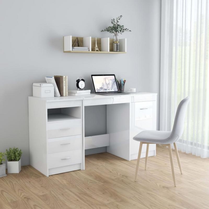 Schreibtisch Hochglanz-Weiß 140 x 50 x 76 cm Spanplatte