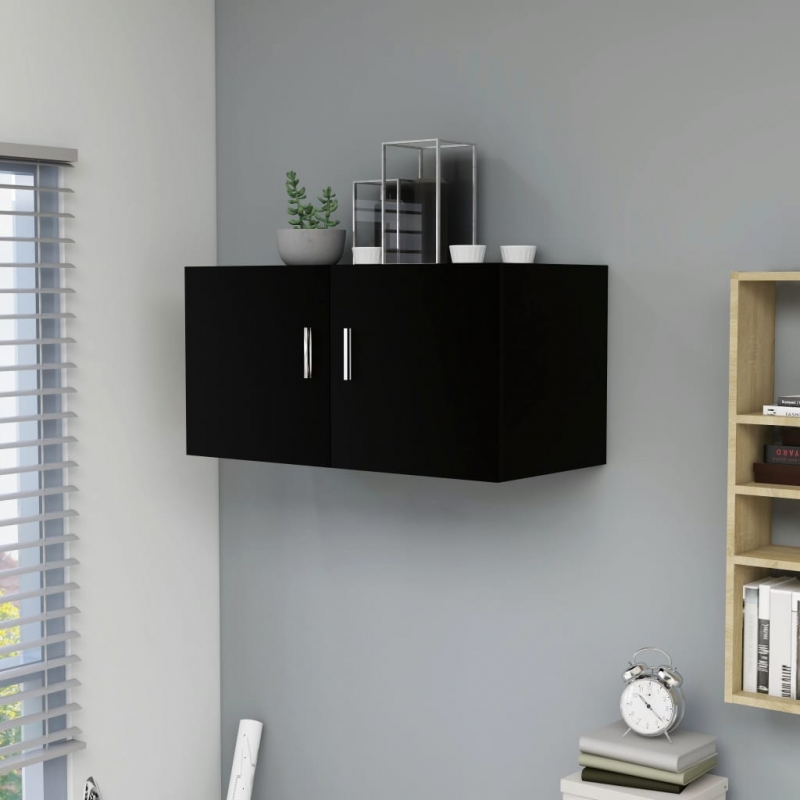 Wandschrank Schwarz 80 x 39 x 40 cm Spanplatte