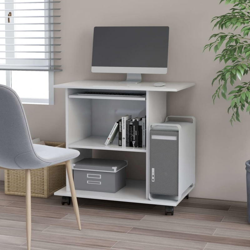 PC-Tisch Weiß 80×50×75 cm Spanplatte