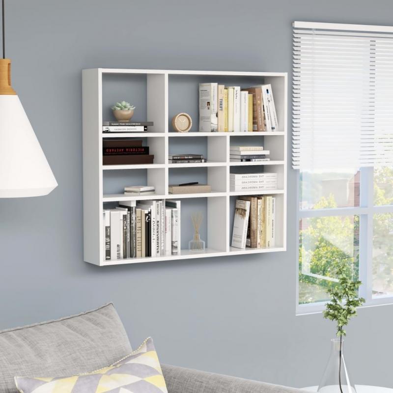 Wandregal Weiß 90 x 16 x 78 cm Spanplatte