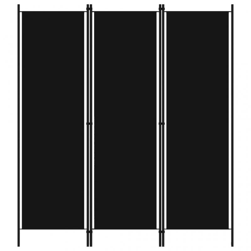 3-tlg. Raumteiler Schwarz 150x180 cm