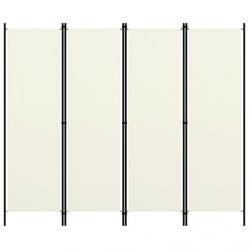 4-tlg. Raumteiler Weiß 200x180 cm