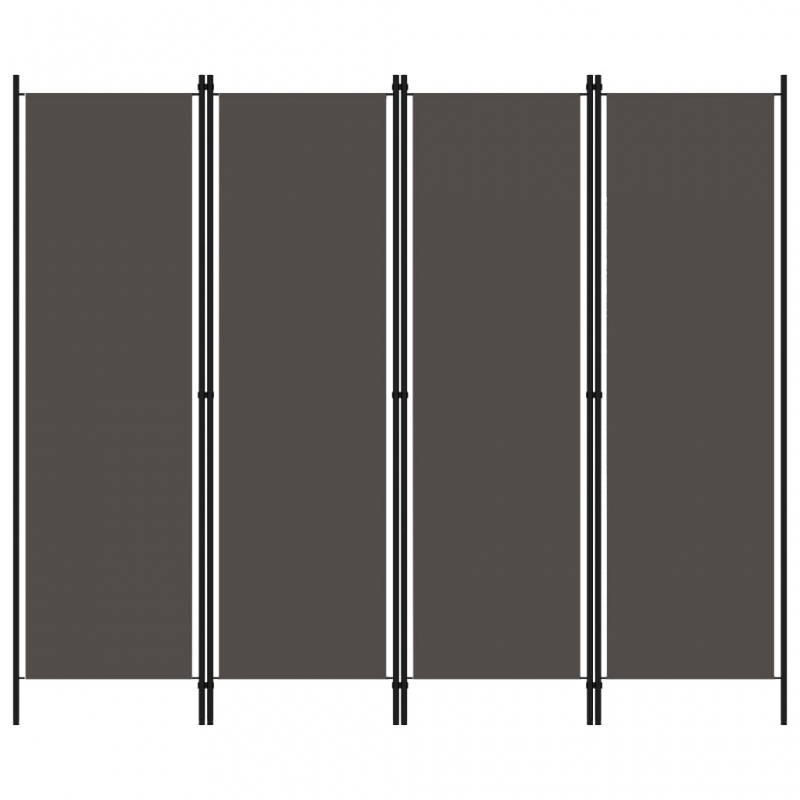 4-tlg. Raumteiler Anthrazit 200x180 cm