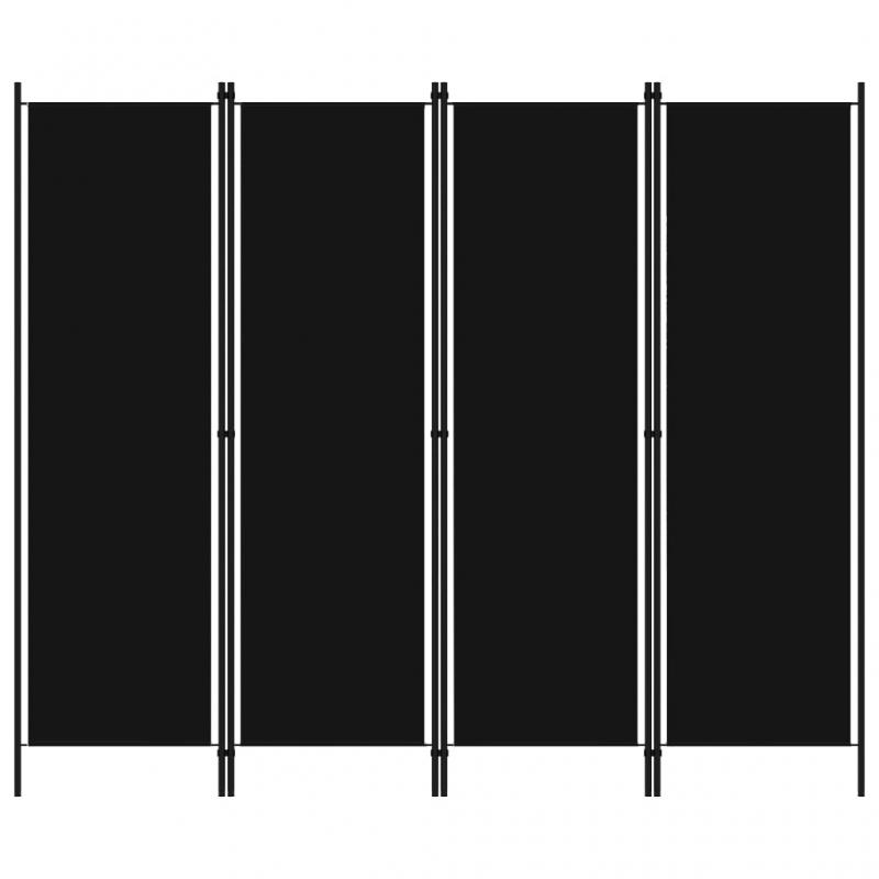 4-tlg. Raumteiler Schwarz 200x180 cm