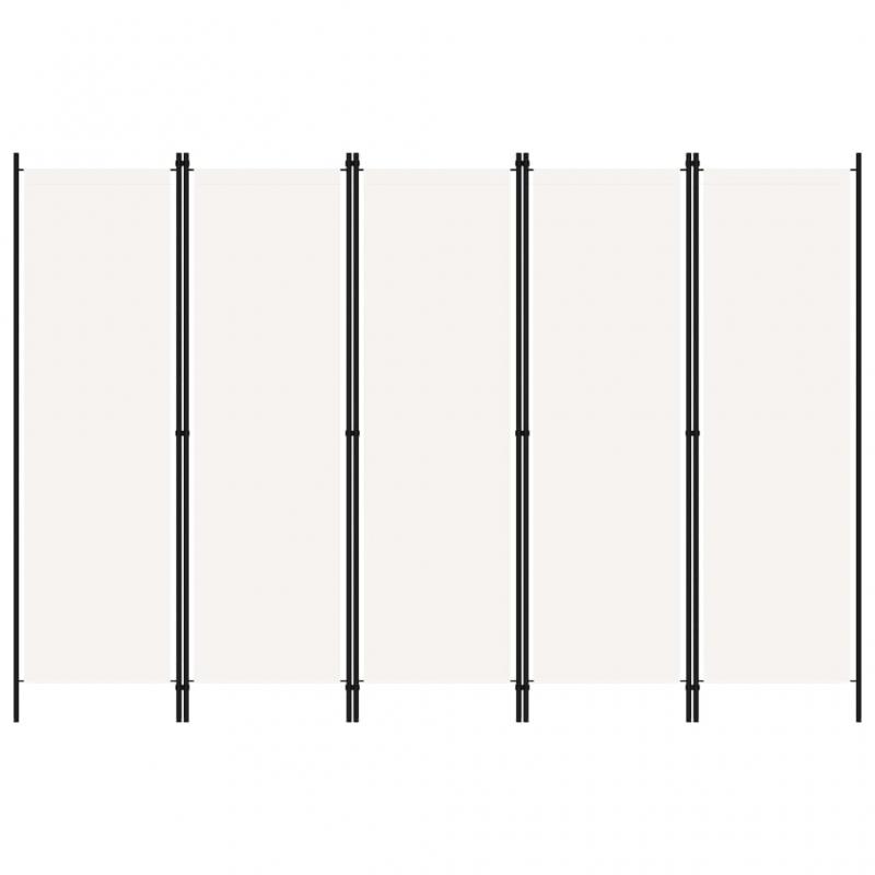 5-tlg. Raumteiler Weiß 250x180 cm