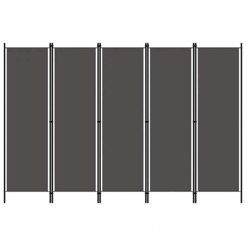 5-tlg. Raumteiler Anthrazit 250x180 cm