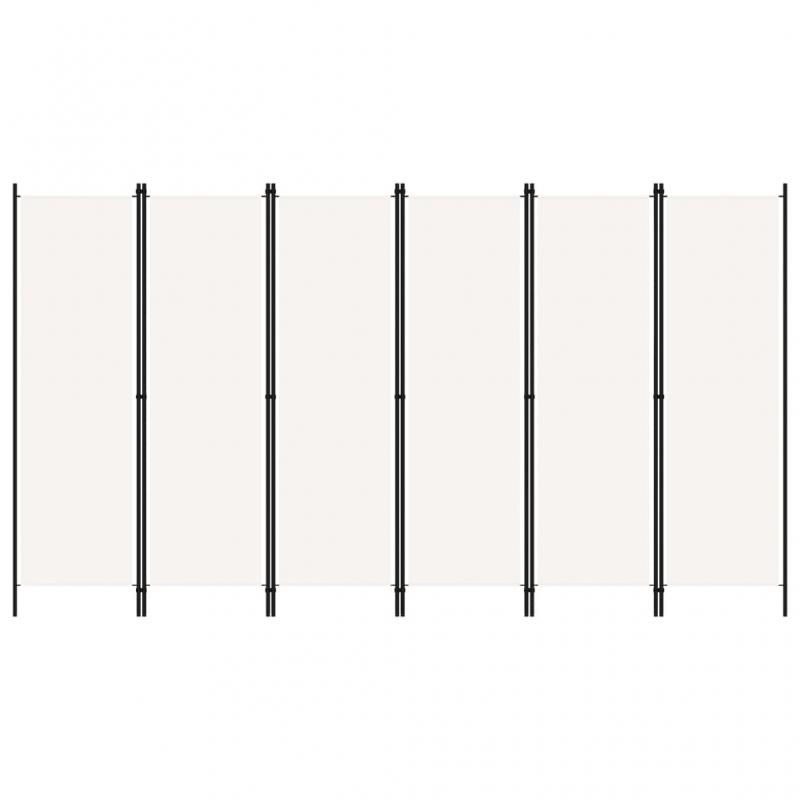 6-tlg. Raumteiler Weiß 300x180 cm