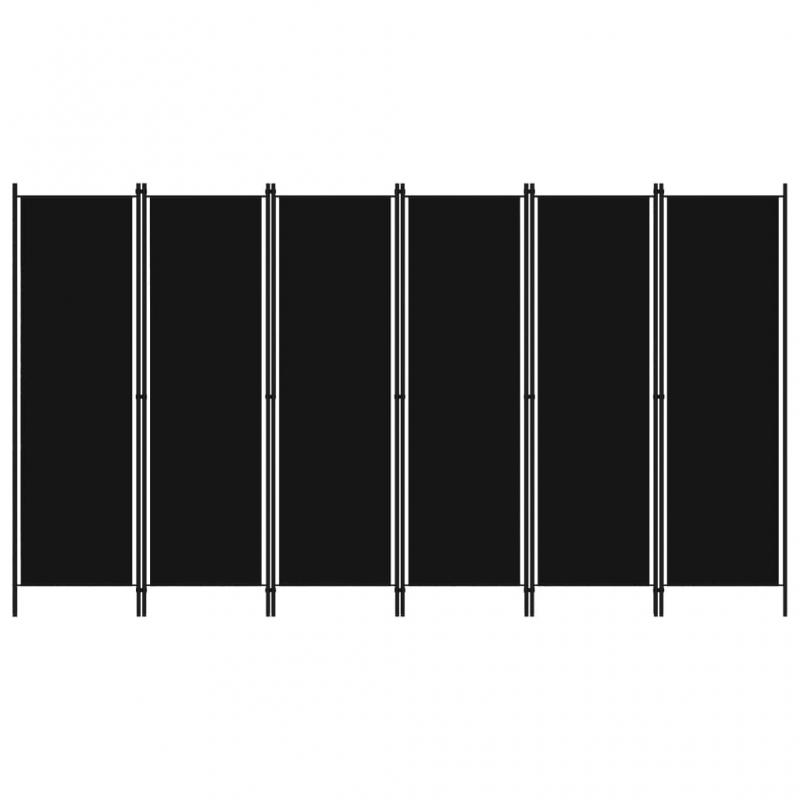 6-tlg. Raumteiler Schwarz 300x180 cm