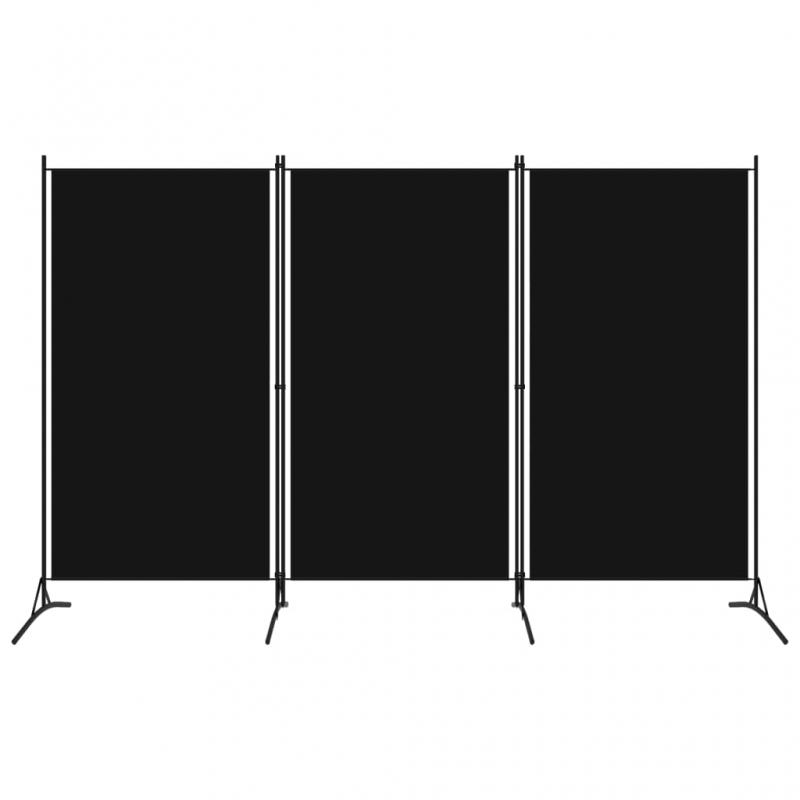 3-tlg. Raumteiler Schwarz 260x180 cm