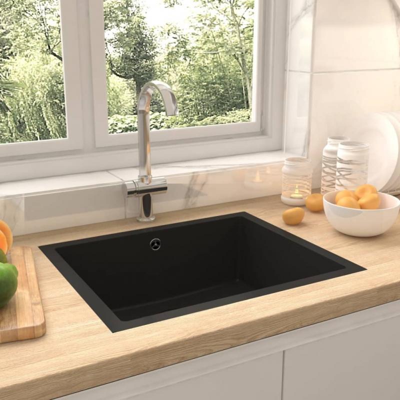 Küchenspüle mit Überlauf Schwarz Granit