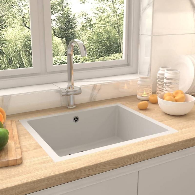 Küchenspüle mit Überlauf Weiß Granit
