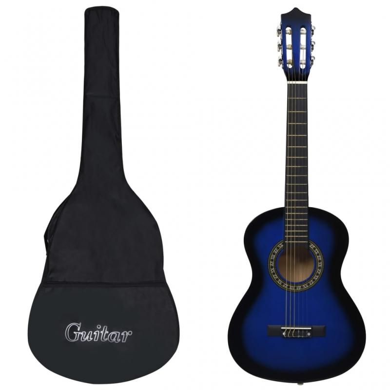 Klassikgitarre für Anfänger und Kinder mit Tasche Blau 1/2 34