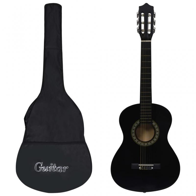 Klassikgitarre für Anfänger Kinder mit Tasche Schwarz 1/2 34