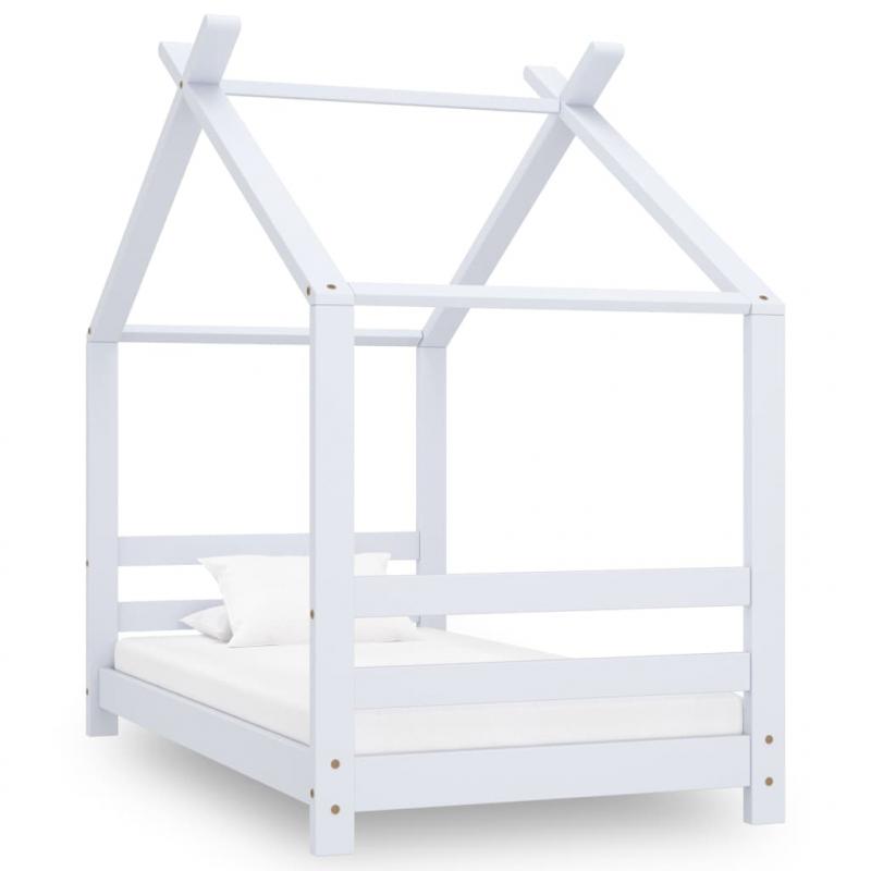 Kinder-Bettgestell Weiß Massivholz Kiefer 70x140 cm
