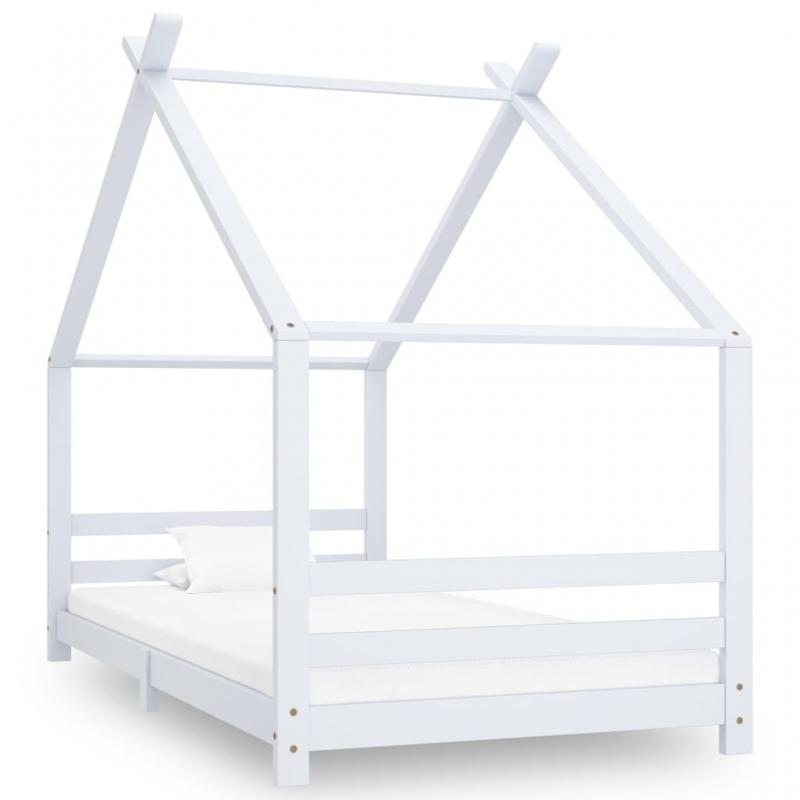 Kinder-Bettgestell Weiß Massivholz Kiefer 90x200 cm