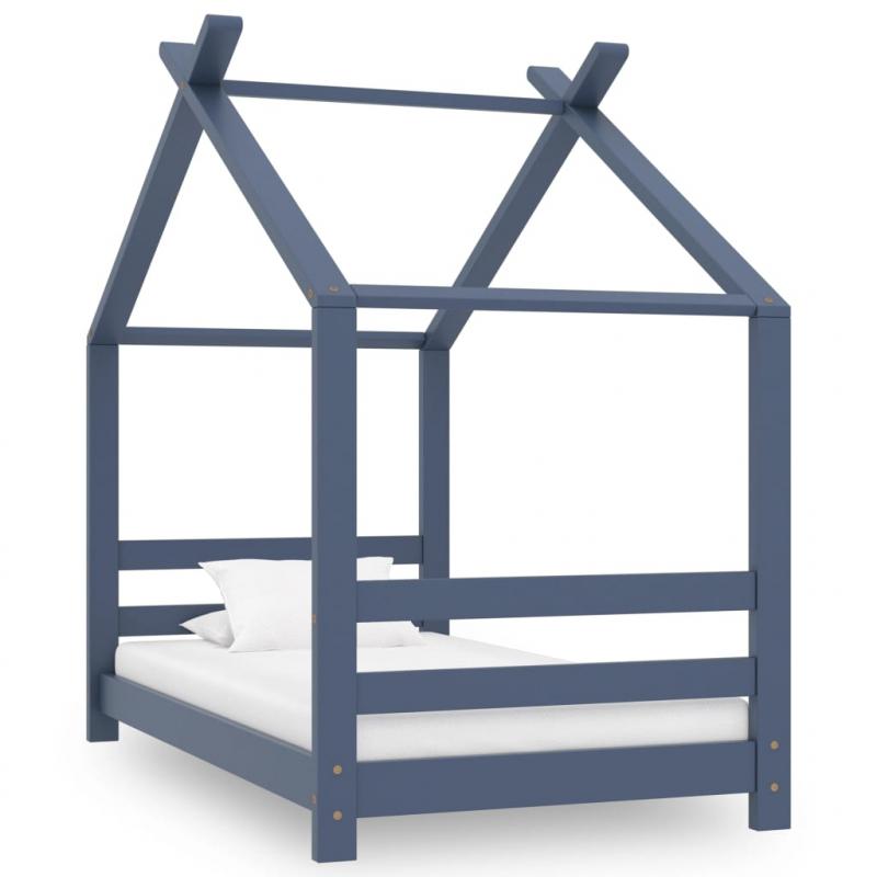 Kinder-Bettgestell Grau Massivholz Kiefer 70x140 cm