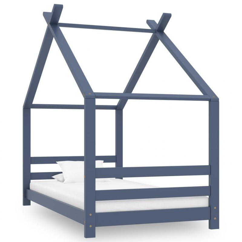 Kinder-Bettgestell Grau Massivholz Kiefer 80x160 cm