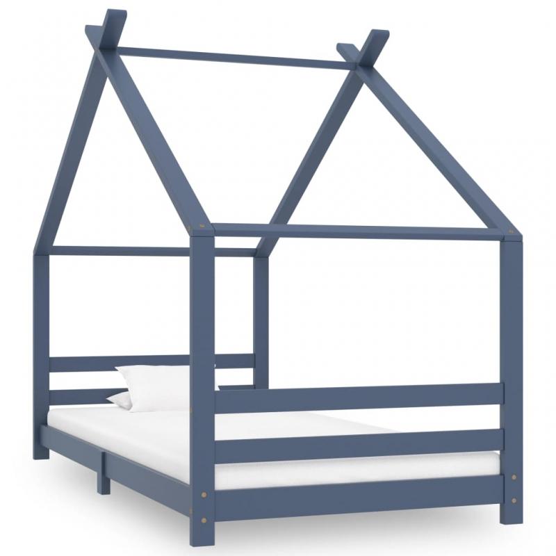 Kinder-Bettgestell Grau Massivholz Kiefer 90x200 cm