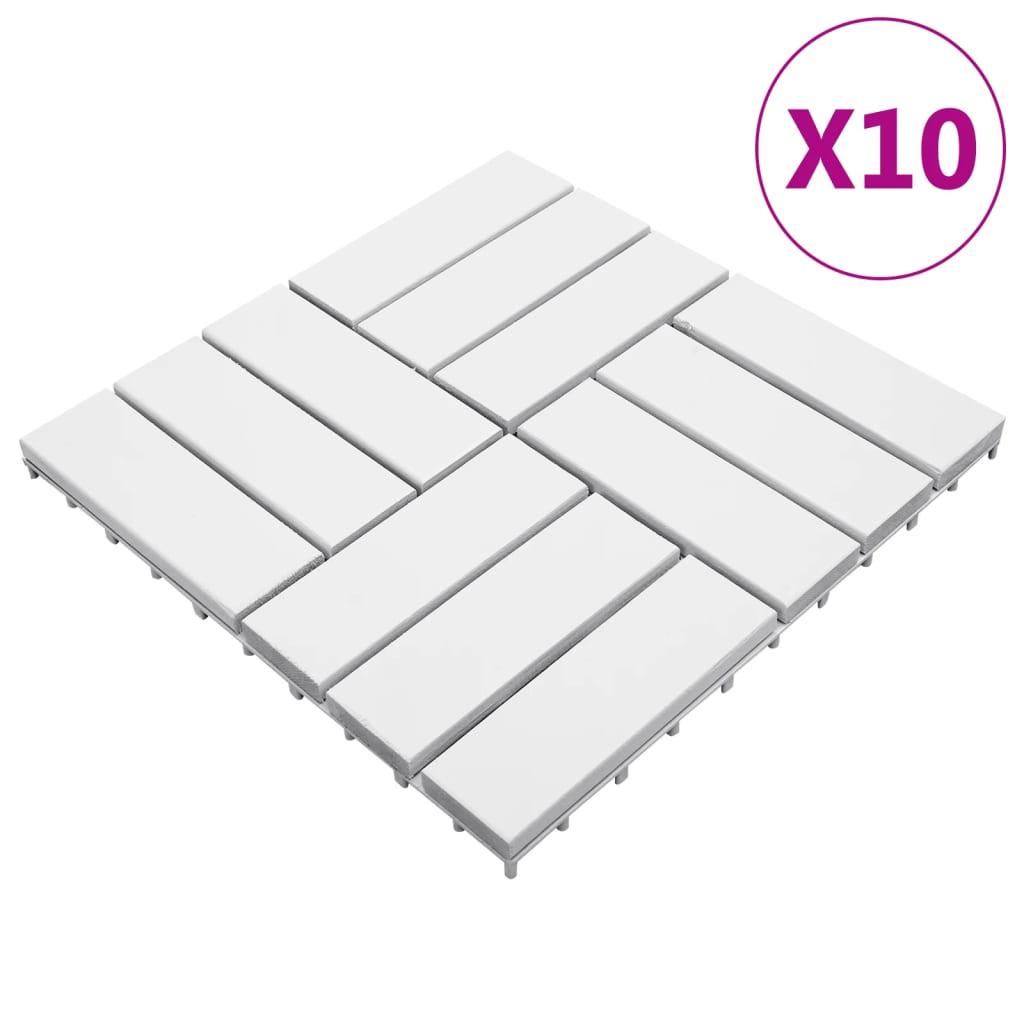 Terrassenfliesen 10 Stk. Weiß 30x30 cm Massivholz Akazie