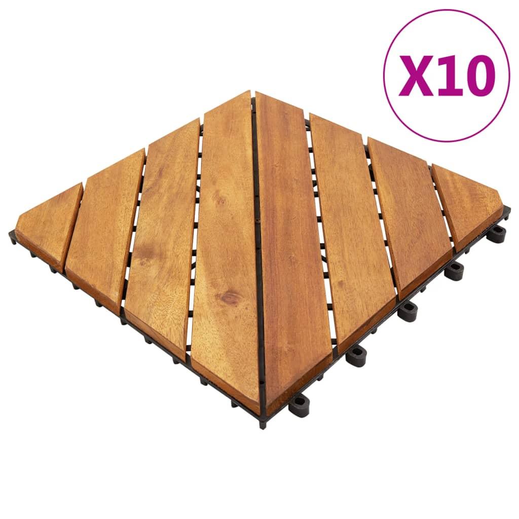 Terrassenfliesen 10 Stk. 30x30 cm Massivholz Akazie