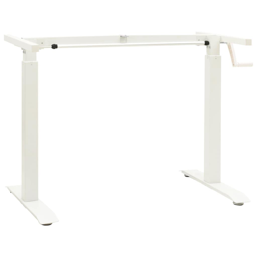 Schreibtisch-Gestell Manuell Höhenverstellbar Handkurbel Weiß