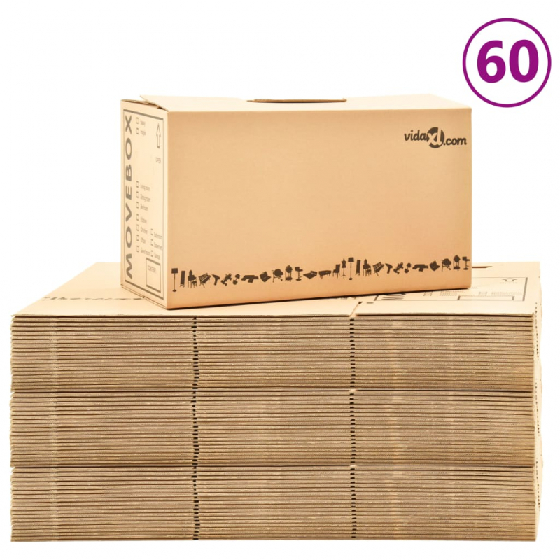 Umzugskartons XXL 60 Stk. 60×33×34 cm