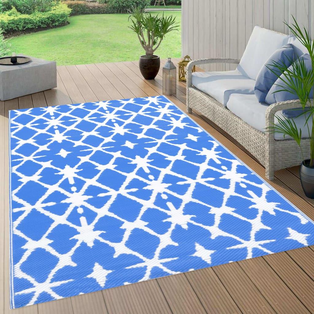 Outdoor-Teppich Blau und Weiß 120x180 cm PP