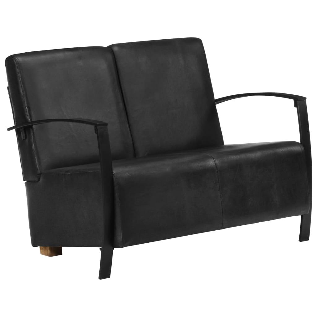 2-Sitzer-Sofa Schwarz Echtleder