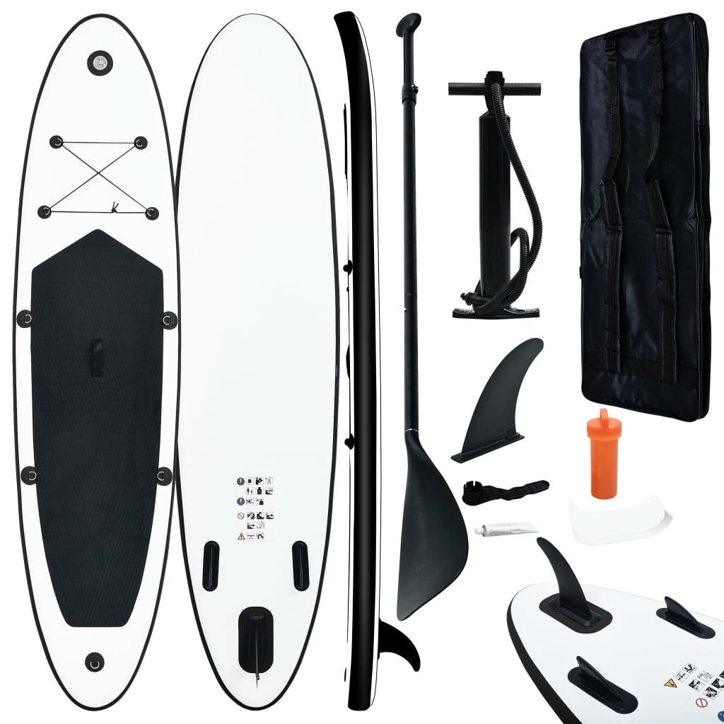 Aufblasbares Stand Up Paddle Board Set Schwarz und Weiß