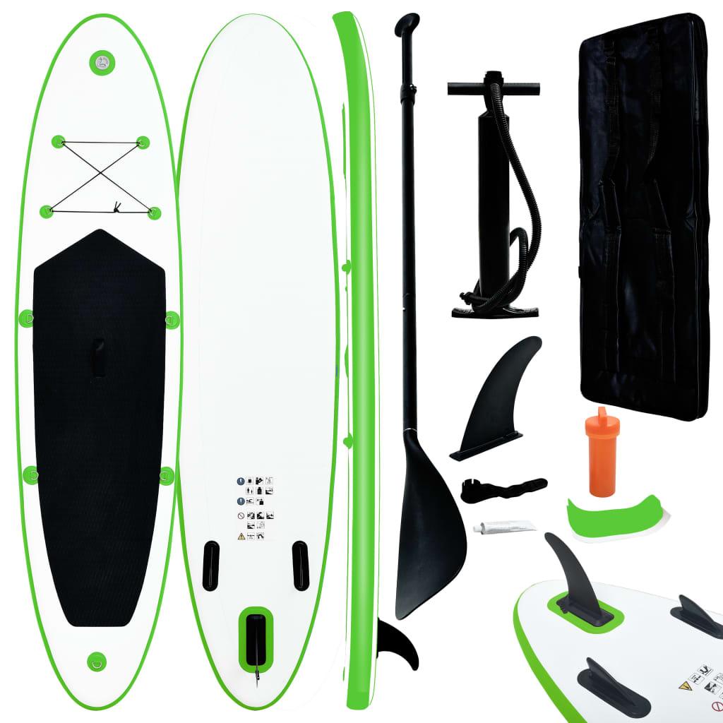 Aufblasbares Stand Up Paddle Board Set Grün und Weiß