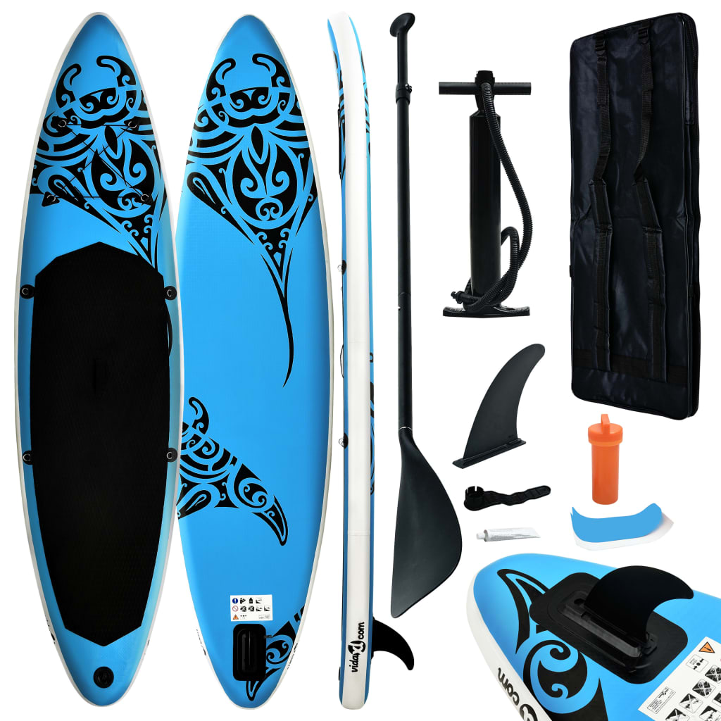 Aufblasbares Stand Up Paddle Board Set 320x76x15 cm Blau