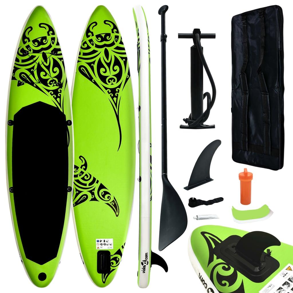 Aufblasbares Stand Up Paddle Board Set 366x76x15 cm Grün