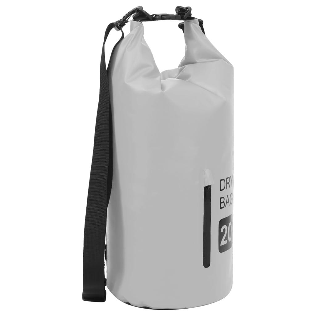 Trockensack mit Reißverschluss Grau 20 L PVC