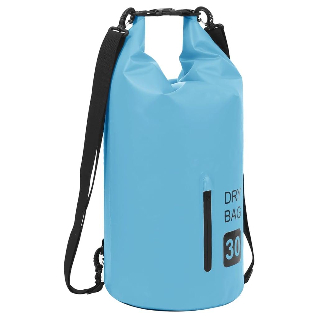 Trockensack mit Reißverschluss Blau 30 L PVC
