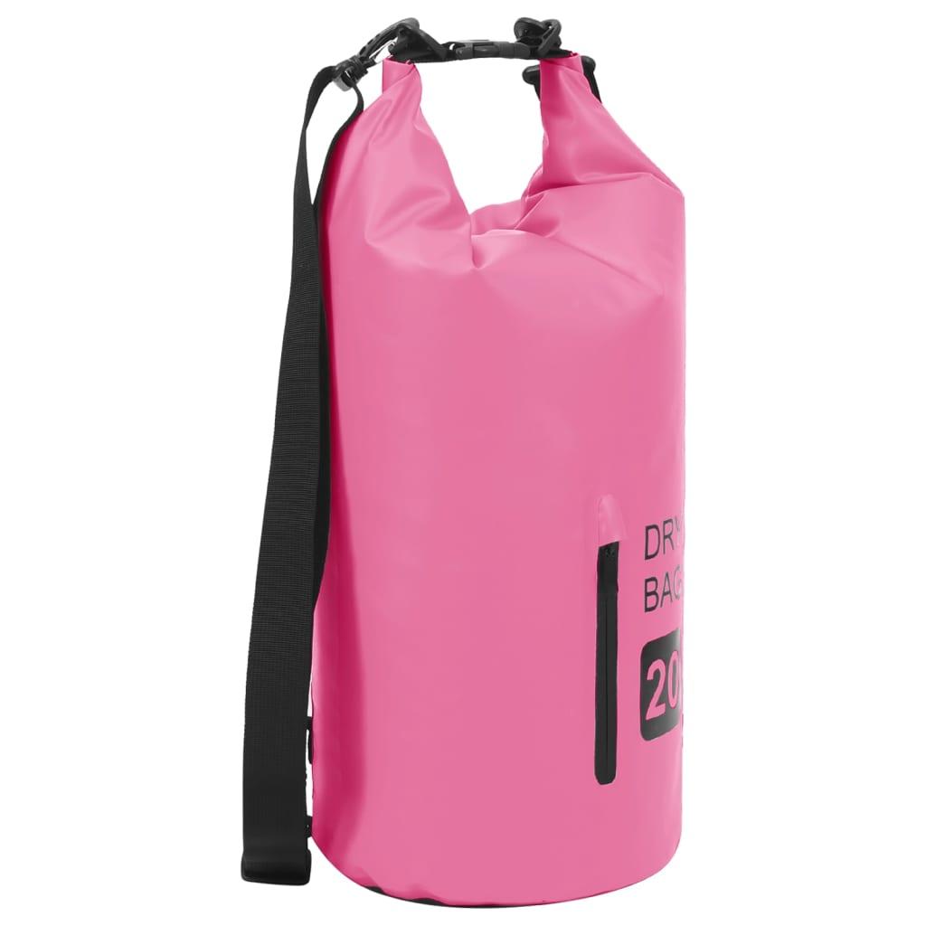 Trockensack mit Reißverschluss Rosa 20 L PVC