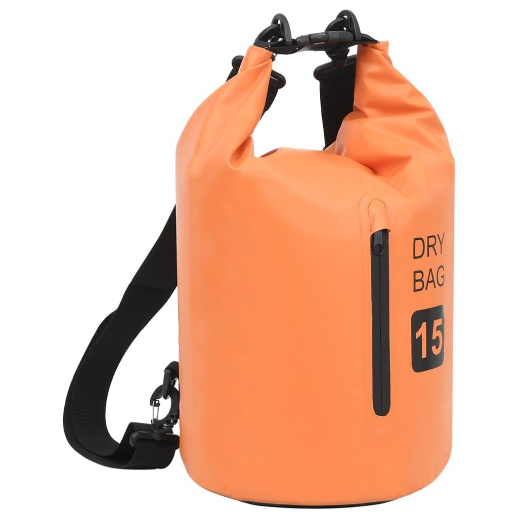 Trockensack mit Reißverschluss Orange 15 L PVC