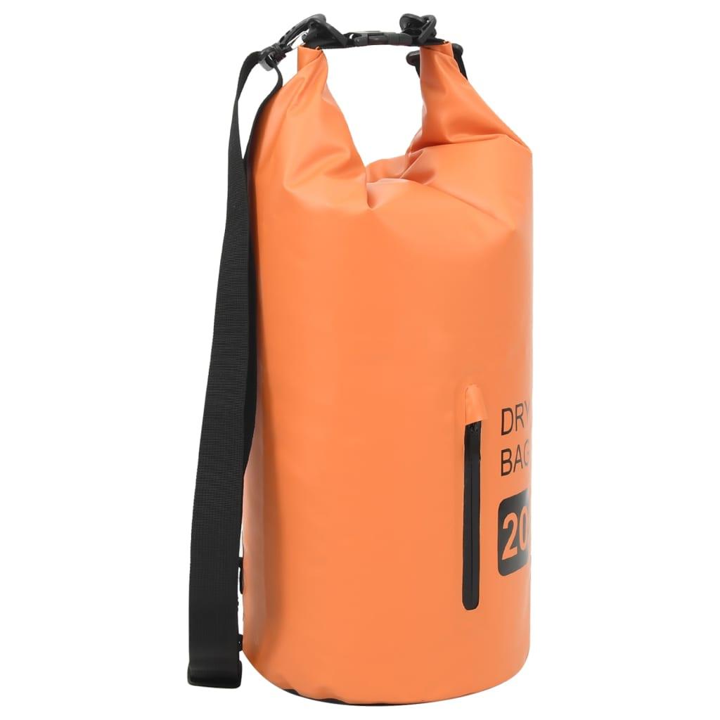 Trockensack mit Reißverschluss Orange 20 L PVC