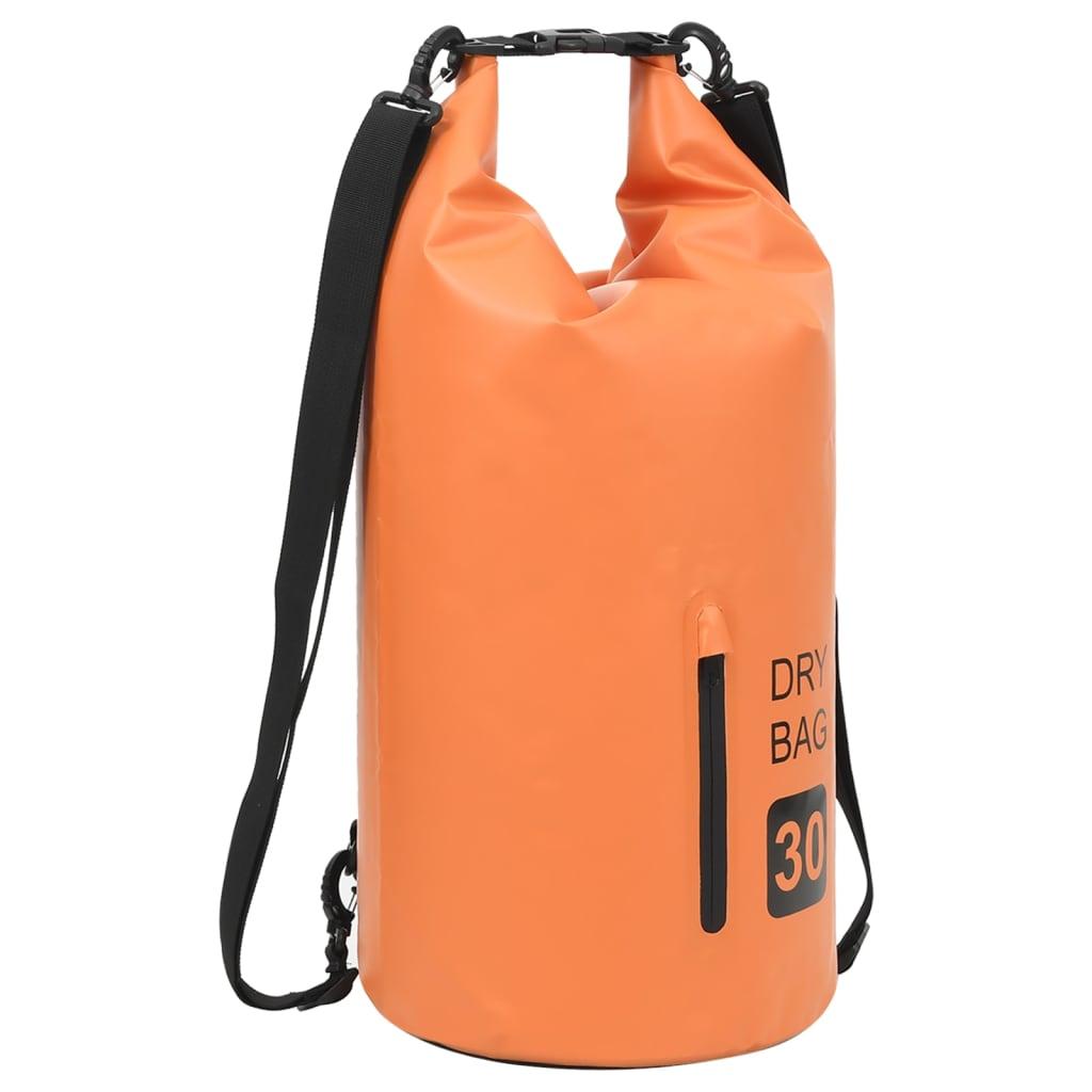 Trockensack mit Reißverschluss Orange 30 L PVC