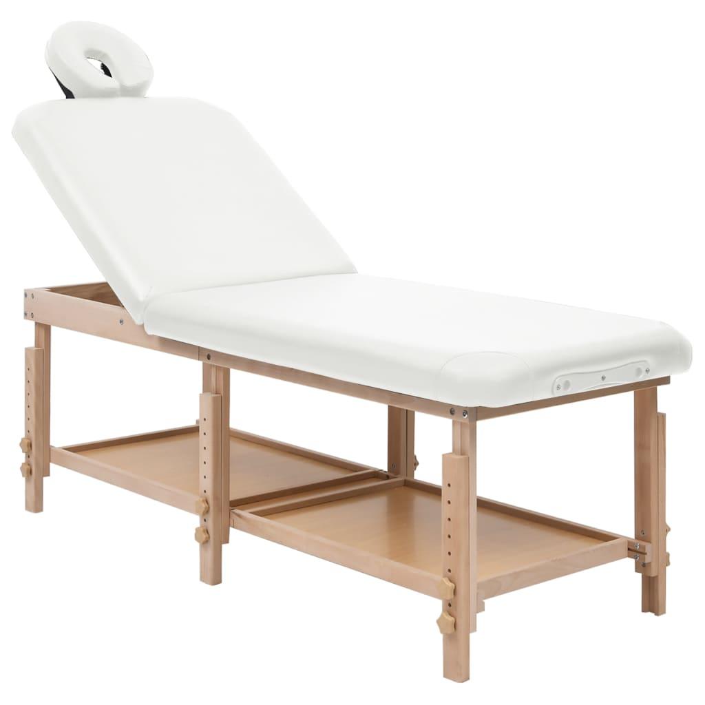 2-Zonen-Massagetisch Weiß Kunstleder