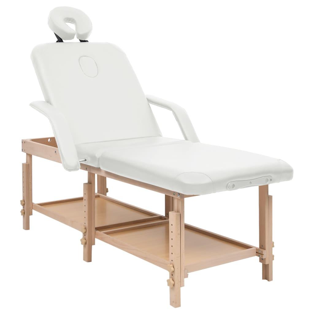 3-Zonen-Massagetisch Weiß Kunstleder
