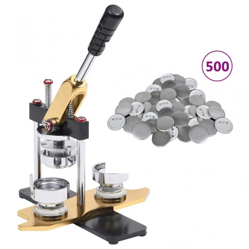 Buttonmaschine mit 500 Button-Teilen 44 mm Drehstanze