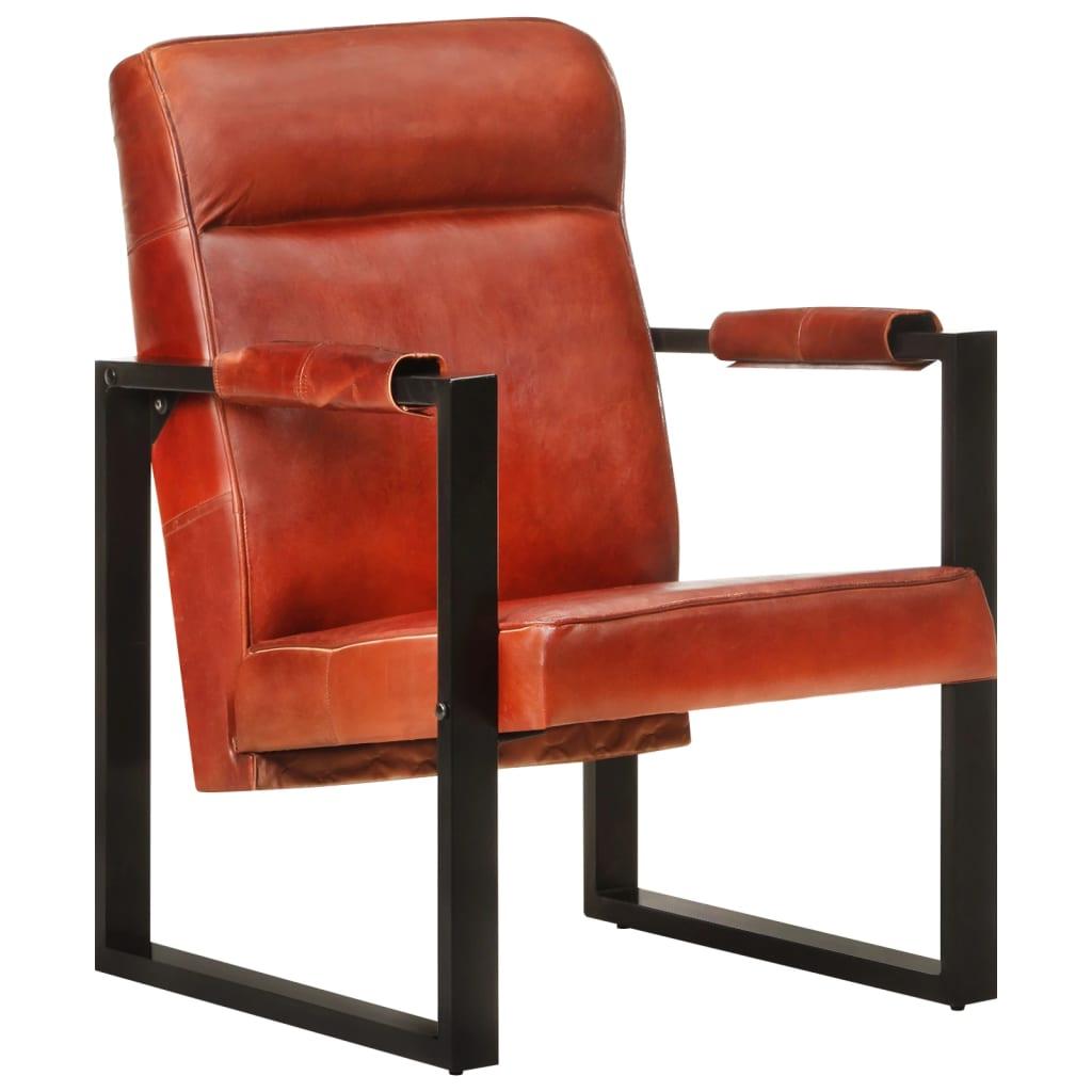 Sessel 60x75x90 cm Dunkelbraun Echtes Ziegenleder