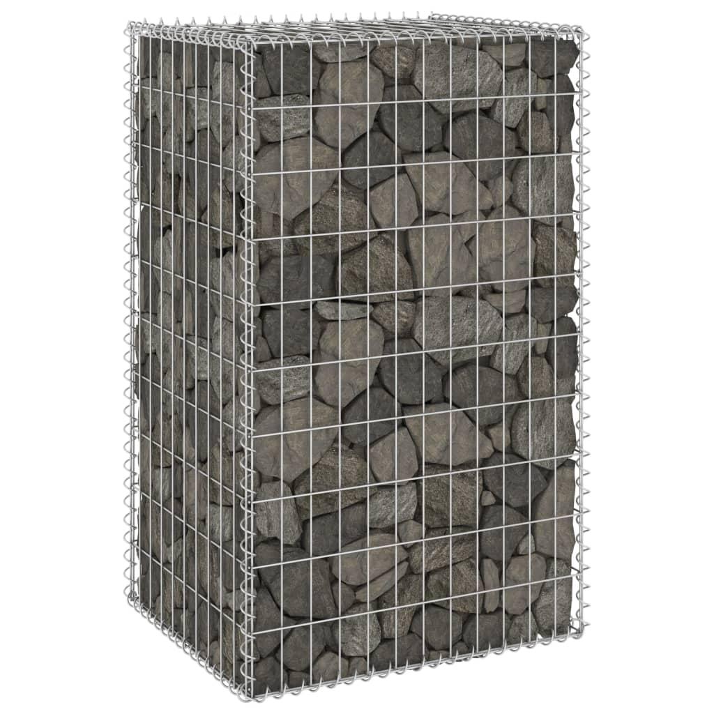 Gabionenwand mit Abdeckung Verzinkter Stahl 60x50x100 cm