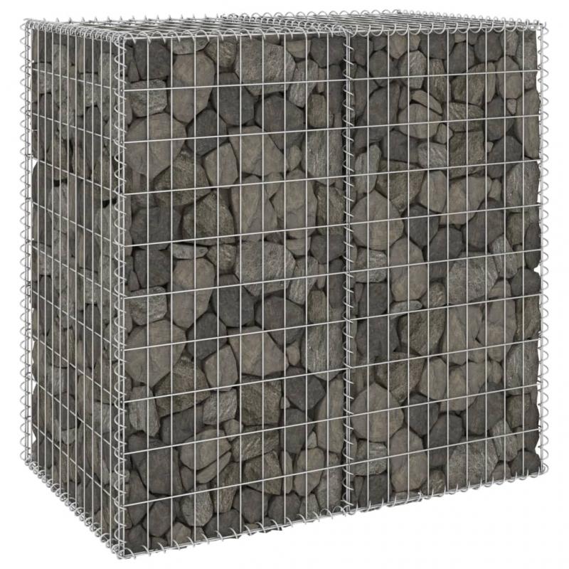 Gabionenwand mit Abdeckung Verzinkter Stahl 100x60x100 cm