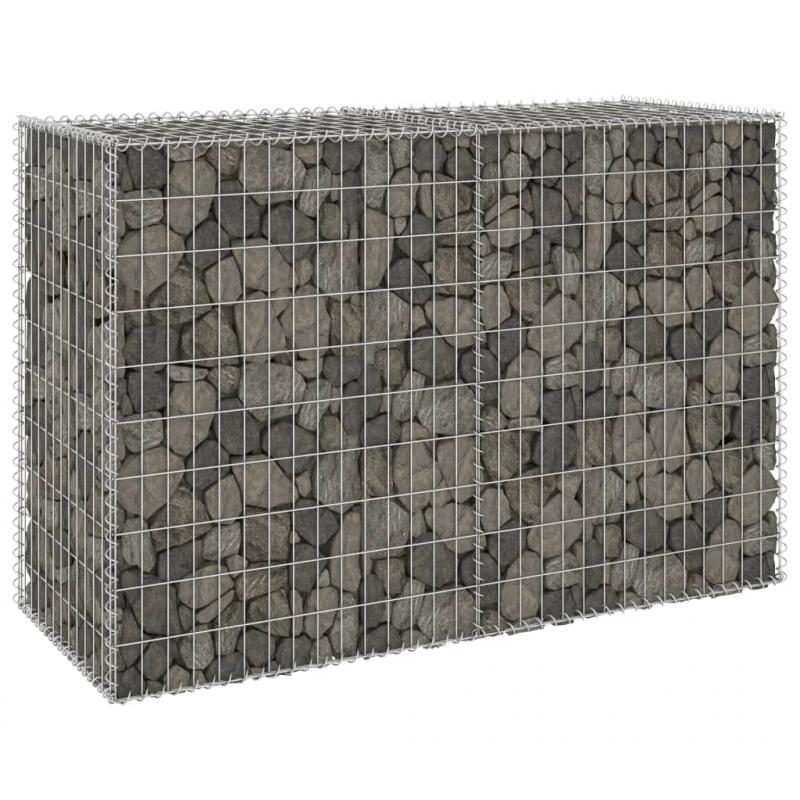 Gabionenwand mit Abdeckung Verzinkter Stahl 150x60x100 cm
