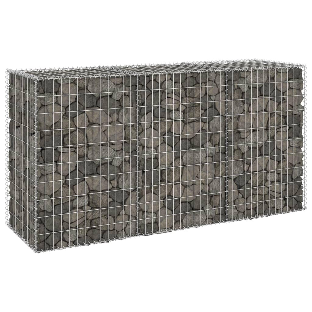 Gabionenwand mit Abdeckung Verzinkter Stahl 200x60x100 cm