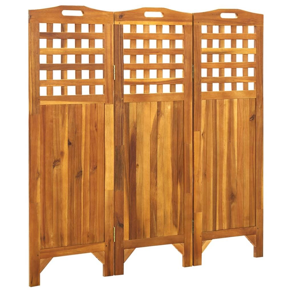 3-teiliger Raumteiler 121x2x120 cm Akazie Massivholz