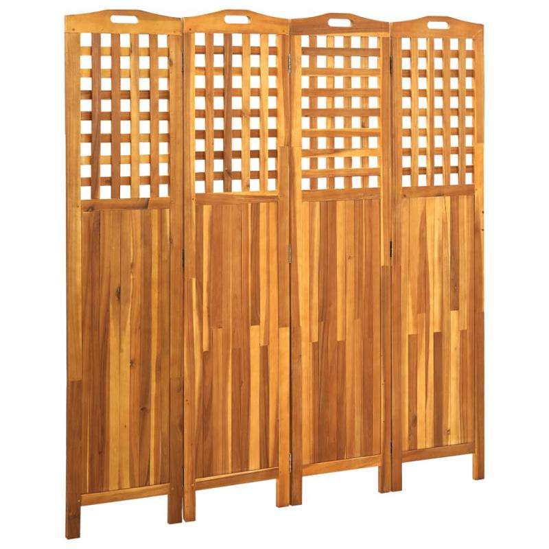 4-teiliger Raumteiler 161x2x170 cm Akazie Massivholz
