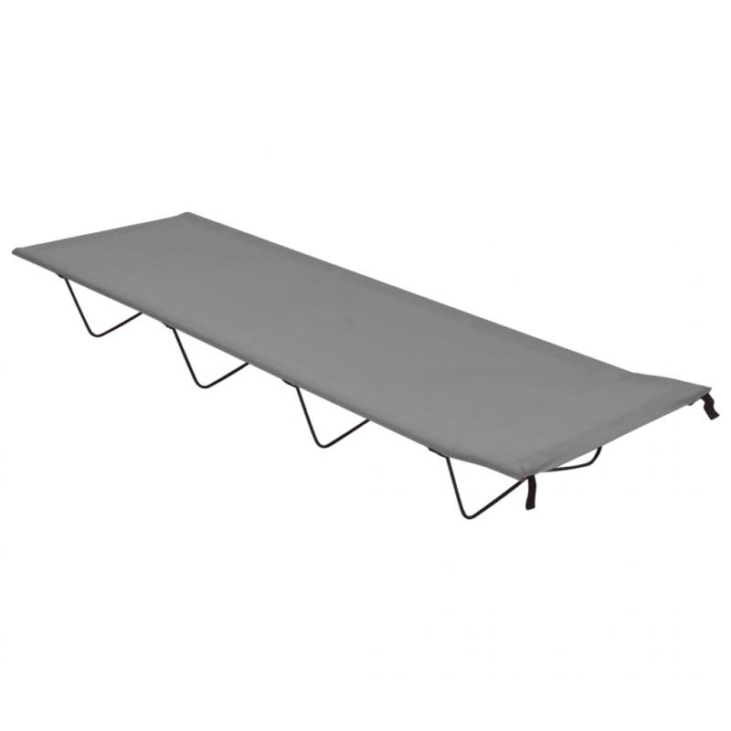 Campingbett 180x60x19 cm Oxford-Gewebe und Stahl Grau