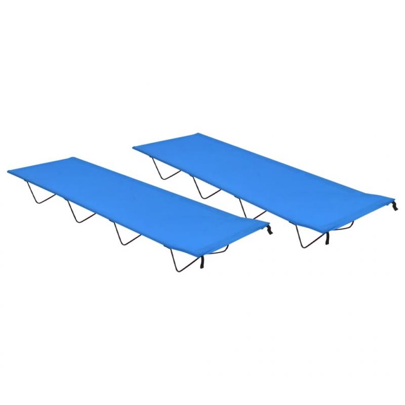 Campingbetten 2 Stk. 180x60x19 cm Oxford-Gewebe und Stahl Blau